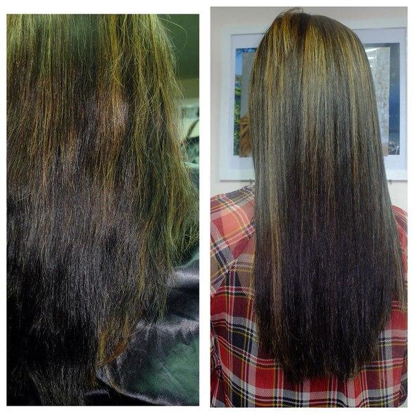 Выход из черного цвета волос с помощью мелирования фото